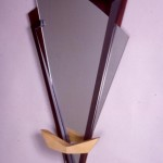 "Double Reverse: 2007 Wenge, Maple, Steel, MDF, Acrylic Paint, Glass about 42"" tall, 23"" wide, 4"" deep $700"