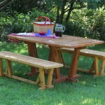 "Outdoor Table and Benches: 2012 Cedar 62"" long, 38"" wide, 28"" tall $1500"
