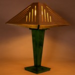"Lamp w/Wooden Shade: 2011 Maple, Birch Plywood, Dye 28"" tall, 18"" wide other colors available $450"