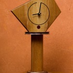 "Mantle Clock: 2007 Curly Walnut, Sycamore, Purpleheart, Ebony 16 1/2"" tall, 8 1/2"" wide, 6"" deep $300"