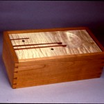 "Recipe Box: 1988 Cherry, Curly Maple, Purpleheart, Ebony 12"" long, 6"" deep, 5"" tall $350"