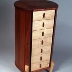 """Cylinder Cabinet: 2005 Jatoba, Curly Maple, Wenge 27 1/4"""" tall, 15 1/2"""" dia. $2400"""