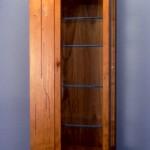"Display Cabinet: 1988 Cherry, Birdseye Maple, Purpleheart, Ebony, Glass 28"" tall, 12"" wide, 7"" deep"