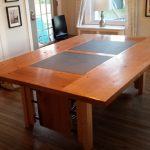 Dining Table with Slate Inserts 2016 Reclaimed Oak, Slate, Steel Pipe